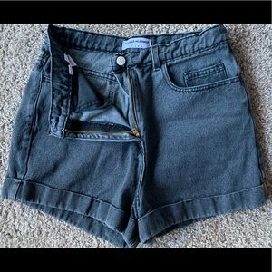 Black Stonewash Denim Shorts